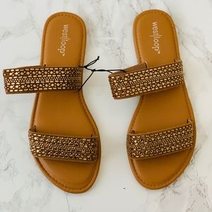 Golden Gamed Two Strap Sandals